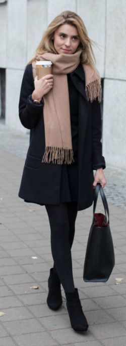 officially scarf season + Katarzyna Tusk + cosy + casual + sophisticated + fringed scarf + COS + coat + Chelsea boots + look for any occasion + completely adaptable.   Coat/Scarf: COS, Sweater: MLE Collection, Skirt/Shoes: Zara, Bag: Armani.