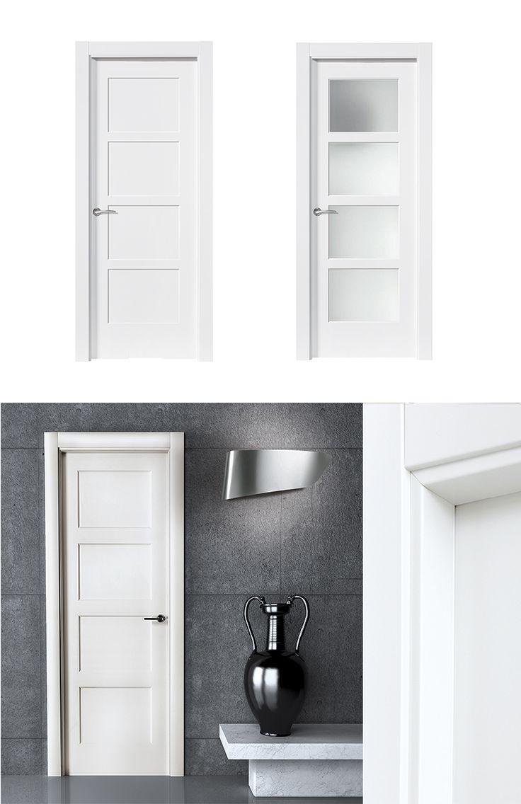Puerta de interior blanca modelo bosco de la serie for Puertas macizas blancas