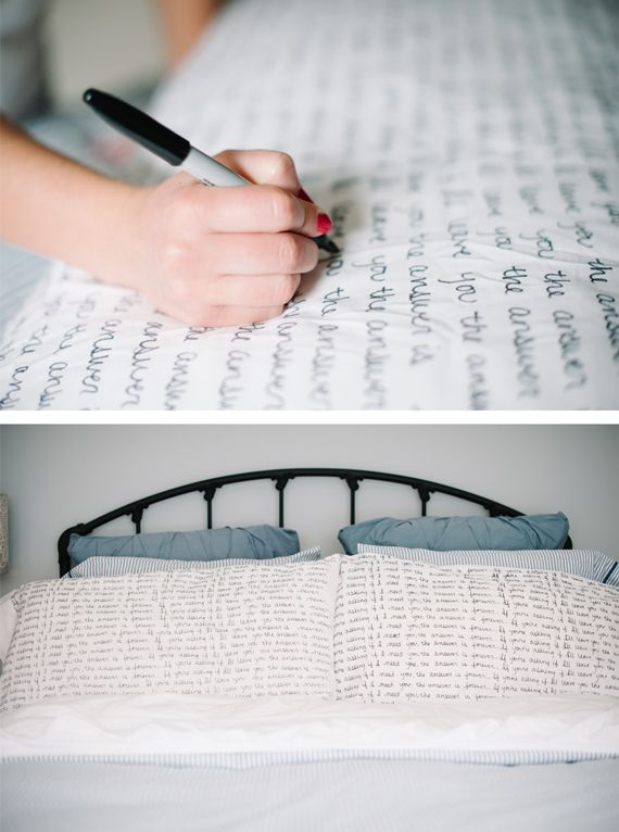 Use a Sharpie to create one-of-a-kind scripted pillows. (Make sure you use Sharpie Fabric marker)