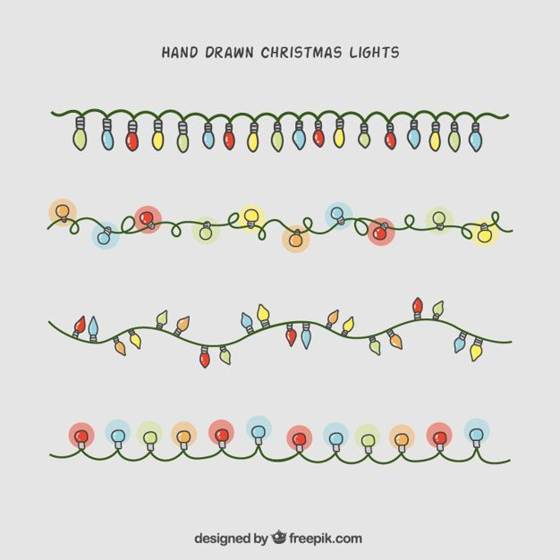 Hand-drawn christmas lights collection Free Vector