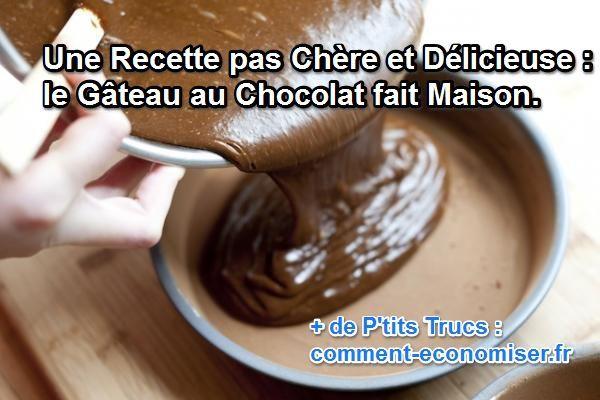 Facile, économique et rapide : c'est la meilleure recette de gâteau au chocolat que je connaisse à faire à la maison pendant l'hiver. Ce succulent dessert nécessite seulement 20 min de préparation et de cuisson. Découvrez l'astuce ici : http://www.comment-economiser.fr/recette-pas-chere-gateau-au-chocolat.html?utm_content=bufferd98bb&utm_medium=social&utm_source=pinterest.com&utm_campaign=buffer