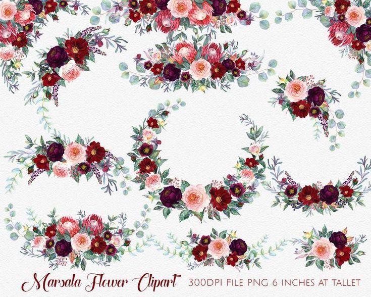 Marsala Flower Clipart,Marsala Watercolor Flowers,Boho ...