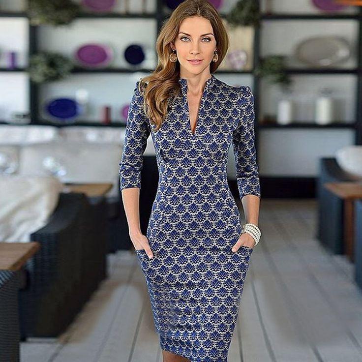 2015 nova moda vestido desgaste meia manga pescoço elegante escritório vestido com bolsos de alta qualidade do vestido em Vestidos de Roupas e Acessórios no AliExpress.com | Alibaba Group