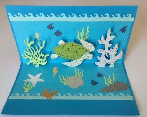 kirigami modele tortue de mer card kirigami sea turtles , carte kirigami fond de mer , turtle, kirigami turtle