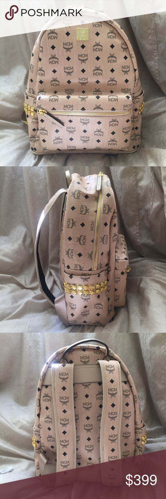 mcm backpack medium in beige authentic guaranteed. it's like new. sorry no trades. inappropriate comments will be ignored and/or reported. MCM Bags Backpacks
