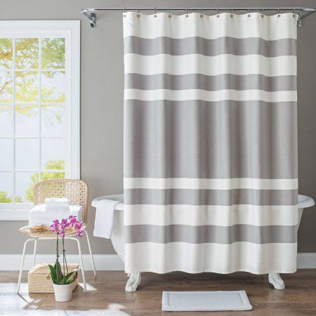 better homes and gardens waffle stripe fabric shower curtain gray