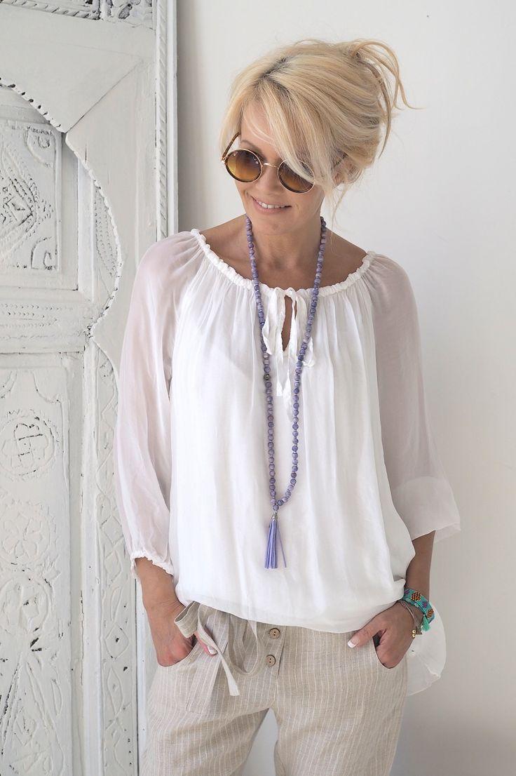 RAIN Silk blouse, White