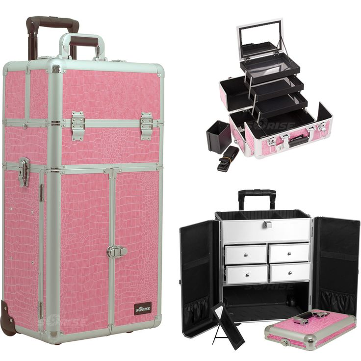 Pink Croc Trolley Makeup Case - I3565 - salonhive.com
