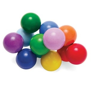 Classic Baby Beads - Manhattan Toys: Well made with wood beads colored with non-toxic water-based finishes and strung together with an elastic cord which can be manipulated into many configurations. Ages 3mos and up. (As much fun for an adult as a baby.)