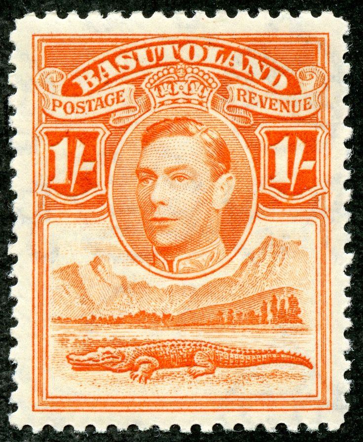 "Basutoland 1938 Scott 25 1/- red orange ""George VI, Nile Crocodile and Mountains"""