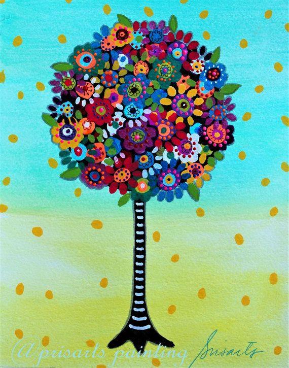Whimsical albero della vita sbocciano fiori arte di prisarts