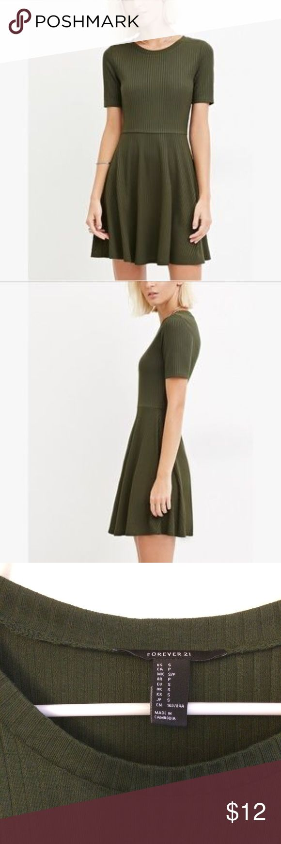 Forever 21 olive ribbed skater dress Forever 21 olive green ribbed skater dress!  Stops about mid thigh. Size S, worn literally once for only about an hour- basically brand new!! Forever 21 Dresses