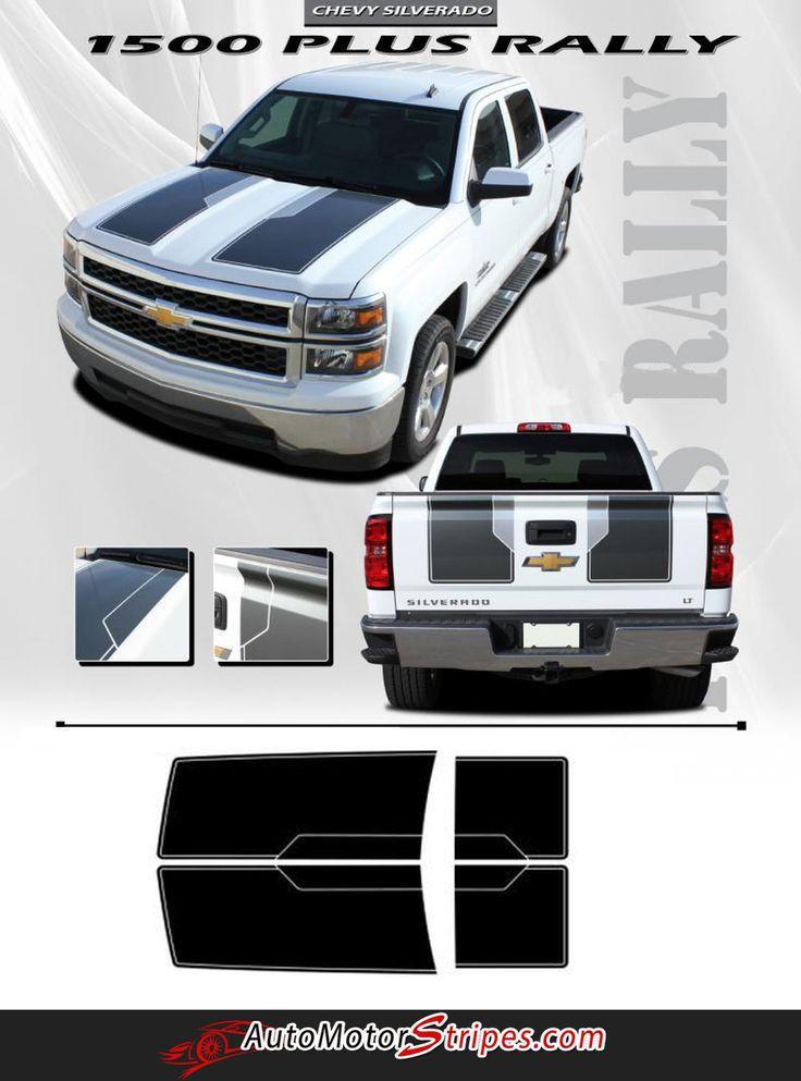2014-2015 Chevy Silverado 1500 Rally Plus Edition Style Truck Racing Vinyl Graphics 3M Stripes Kit