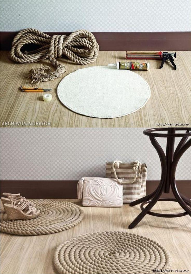 Este concepto para crear una alfombra con cuerda nos ha parecido interesante. En parte porque se puede llevar a cabo reciclando alguno de los componentes o si decides hacerlo desde cero el coste es bajo. Han utilizado como base una alfombra de baño de ikea, un modelo circular común y muy barato, �…