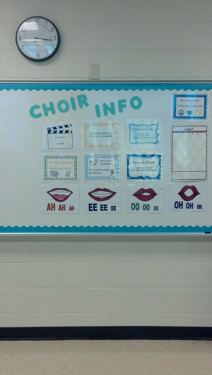 Great choir bulletin board! This blog post also includes a classroom tour with other bulletin boards and decor for the music room!