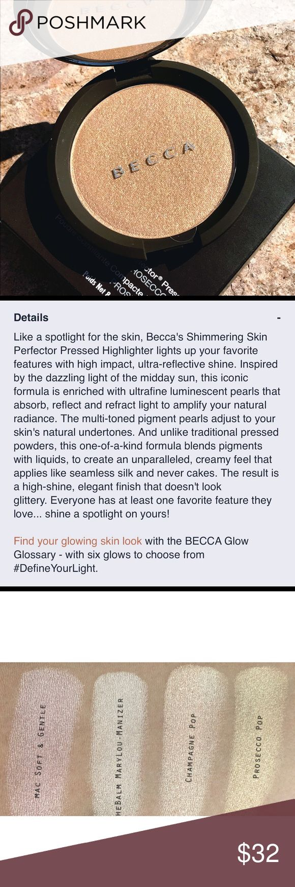 """Becca shimmering skin perfector pressed The newest color from Jaclyn Hill, Beccas' creamy, luminous powder gives you a veil of pearlized glow, (looks like crushed pearls, because it's made out of them!)😮""""prosecco pop"""", is a gold-beige that suits ANY skin tone, it's vivid, it's pigmented to the heels, & you can use it as shadow & lip color in addition to getting your glow-from-within going! Lasts all day or night, will NOT fade. YOU NEED THIS! NEW/UNUSED/FULL SIZE. price FIRM unless…"""
