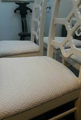 Set of 4 Ivory Vintage Retro Mid-Century Modern Lattice High Back Dining Chairs