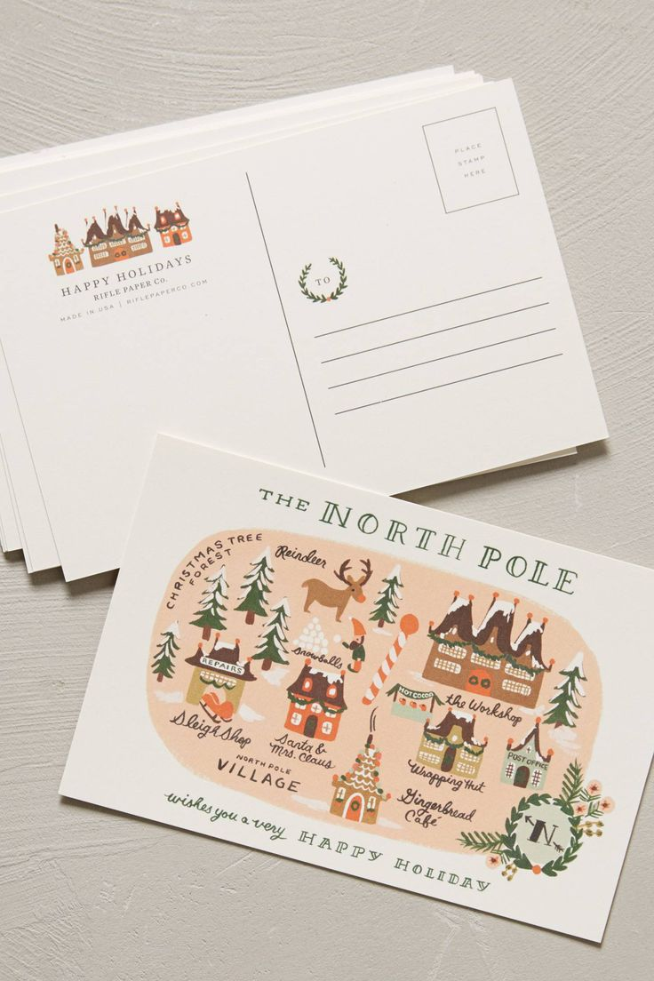 North Pole Map Postcard Set - anthropologie.com