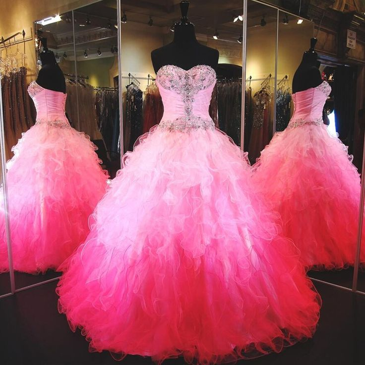 Princess Pink Organza Tulle Ball Gwon Quinceanera Dresses 2016 vestidos de 15 Hand Beaded Sweet 16 Dresses vestido debutante