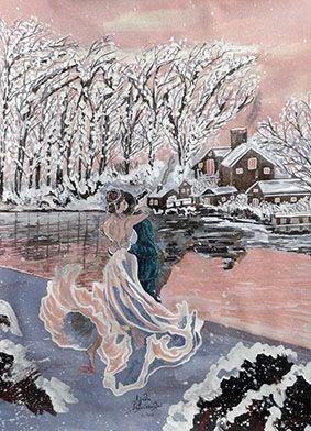 Ζωγραφική με ακρυλικό σε καμβά  Διαστάσεις:55χ65cm  Τίτλος έργου: Μιά ζεστή αγκαλιά,με τα χνάρια στον χιονιά  Κωδ:218-2017