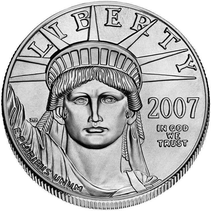 One Ounce Platinum American Eagle (Obverse). This is the official platinum bullion coin of the United States. Also available in 1/2 oz. quantities.