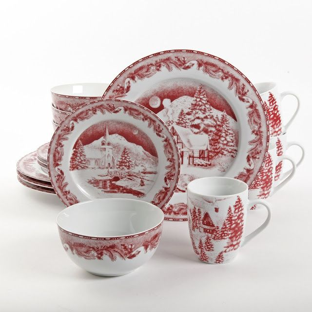 Beautiful winter scene perfect for winter gatherings and holiday or year round decor. - 10.5IN DINNER PLATE, 4 - 8IN DESSERT PLATE, 4 - 5.5IN BOWL and 4 - 12OZ MUG.
