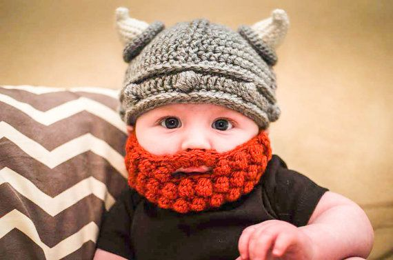 Custom Crochet Viking Beanie Hat with Bobble Beard by BlackLabelBoutique