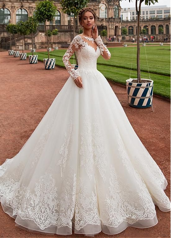 Magbridal Modest Tulle Jewel Neckline A-line Wedding Dress With Lace Appliques &…