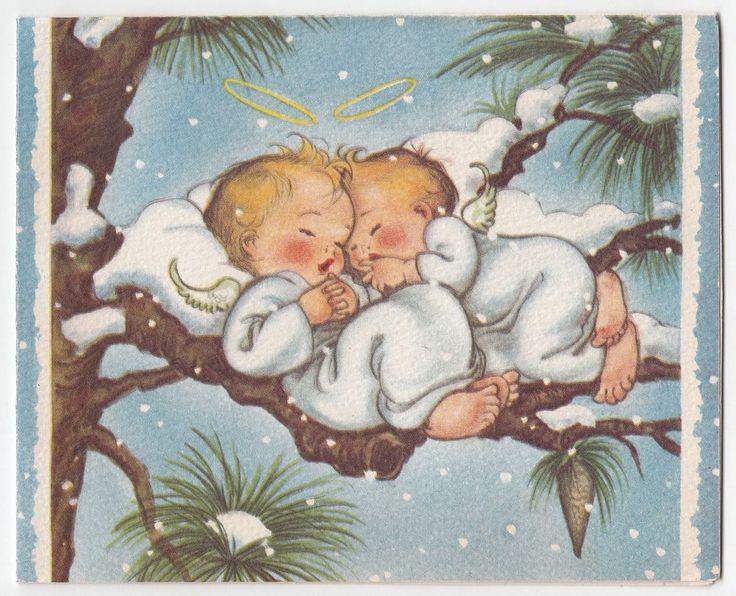 Christmas •~• vintage Crestwick sleeping angels greeting card