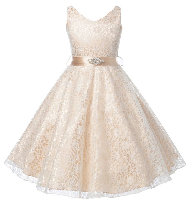 New Arrival Lovely Lace V-Neck Flower Girl Dress FGD-81302