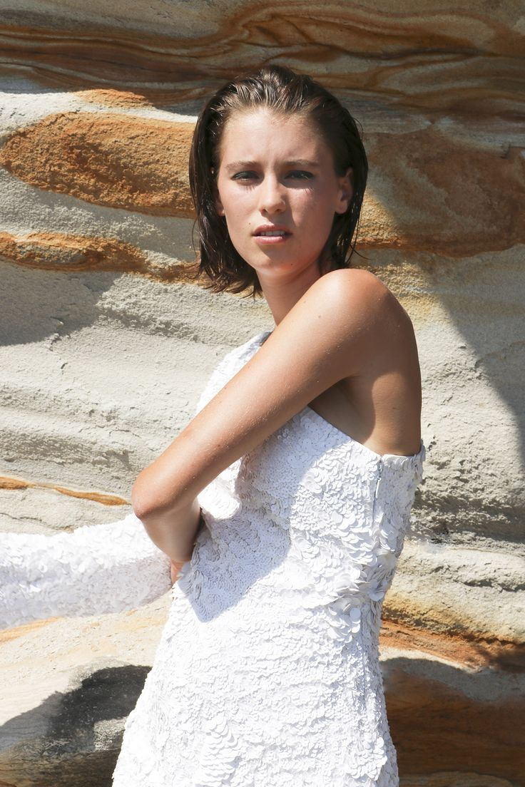 Britt Odell wears Aje white off the shoulder dress. #AjeTheLabel #AjeInsider #AjeGirl #Fashion #Style #BronteBeach #Australia #Summer #Fun #Model #Creative #Love #Beach