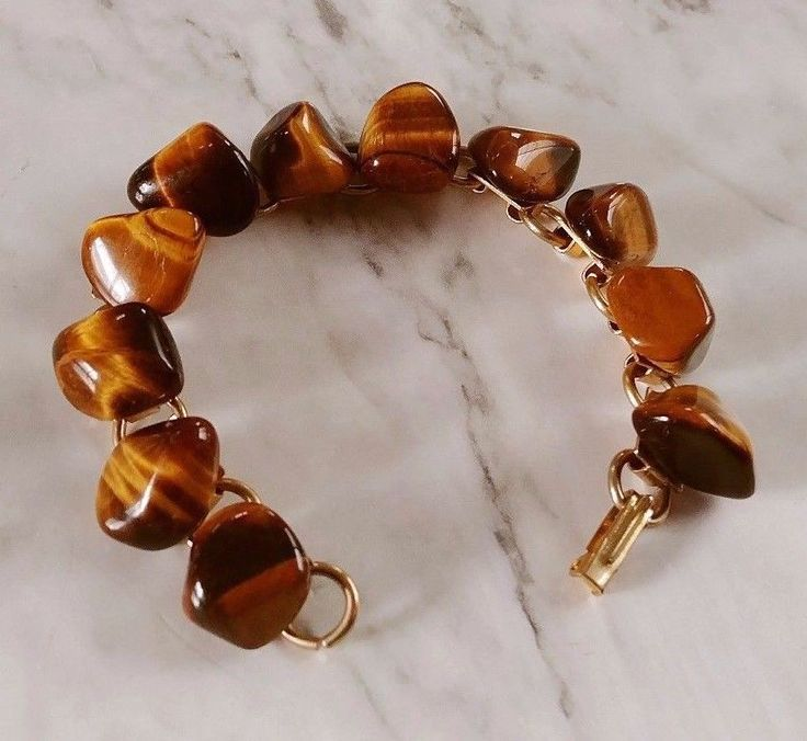 "Vintage 7"" Glowing Tigers Eye Caramel Brown Gemstone Retro Gold Tn Link Bracelet #Unbranded #ChainLink"