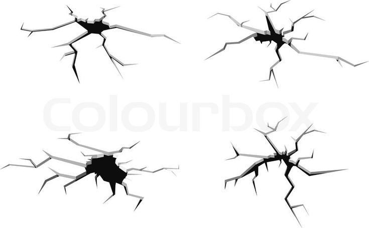 Stock vector of 'Set of cracks in the floor isolated on white background for crash design'