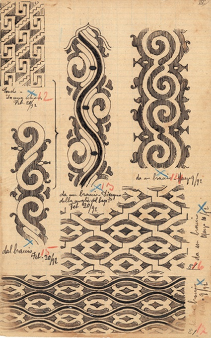 Guido Boggiani (1861-1902): riproduzione di tatuaggi, disegno a inchiostro, dalla pagina del diario di Guido Boggiani, Praga, Collezione di Pavel Frič e Yvonna Fričova
