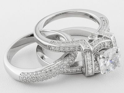 White Cubic Zirconia Sterling Silver Bridal Set 4 96ctw In 2018 Rings Things Of Beauty Jewelry
