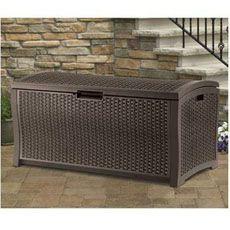 Suncast Resin Wicker 73 Gallon Deck Box