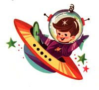 vintage rocket ship    1950s Retro Rocket Kids Waterslide Decals Space Ship Decals