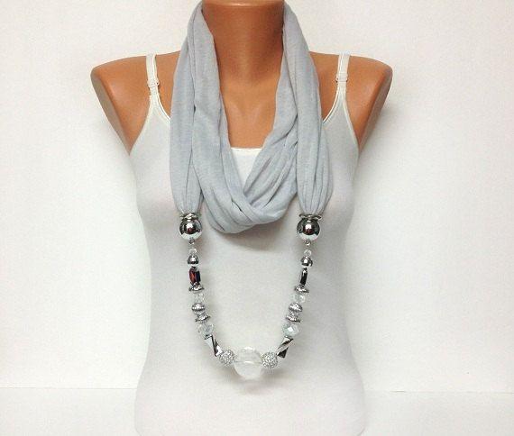 grey jewelry scarf