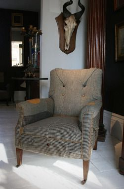 tweed jackets used to re-apulster a chair. Brilliant!