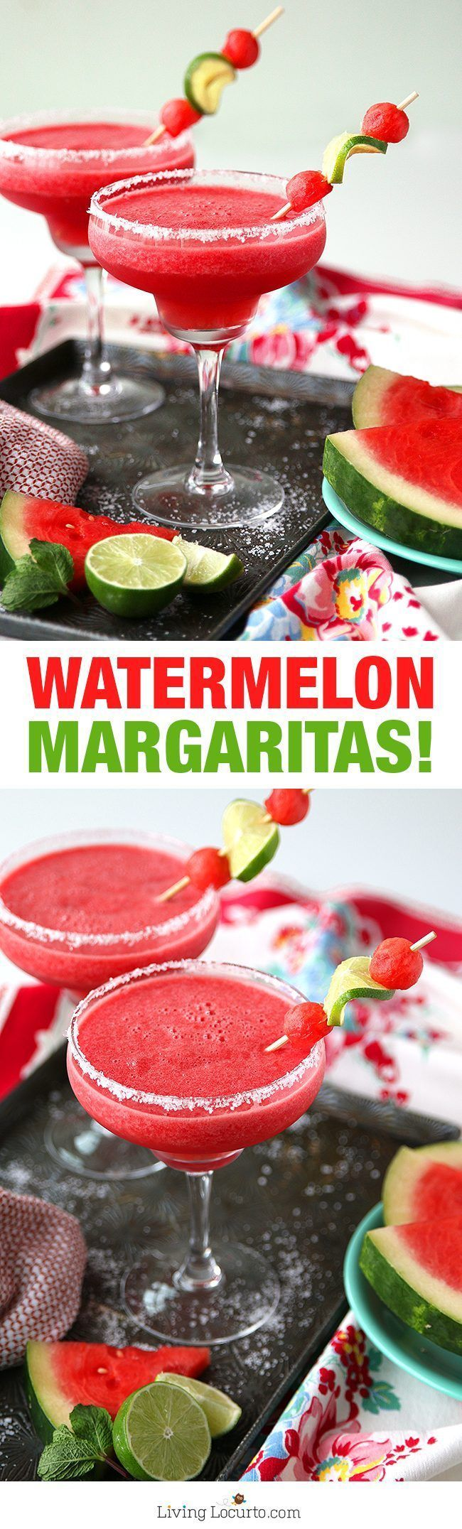 Easy Frozen Watermelon Margaritas! This is THE BEST Margarita Recipe perfect for any party. A refreshing cocktail for a hot summer day. http://LivingLocurto.com