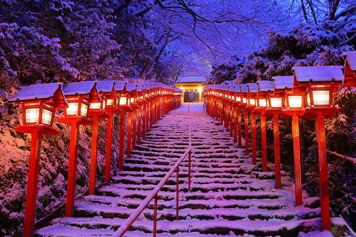 こちらは雪化粧の境内へ続く階段。 灯篭がとても美しいです。