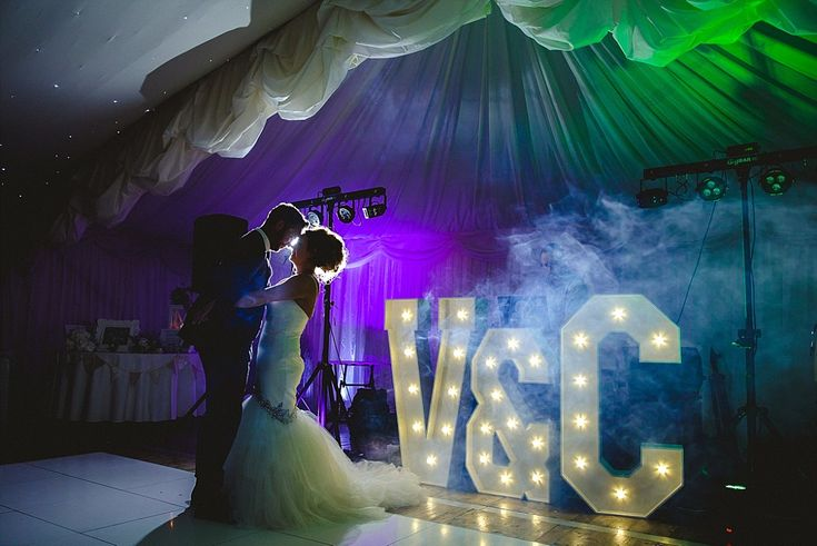 Moor Hall Es Wedding Photographer Dance Floor Portrait With Light Up Letters
