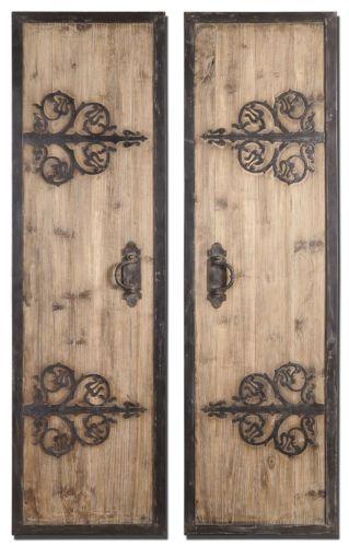 Uttermost 07630 abelardo panels s 2 rustic wood w wrought iron wall decor wrought iron wall - Wrought iron decorative wall panels ...
