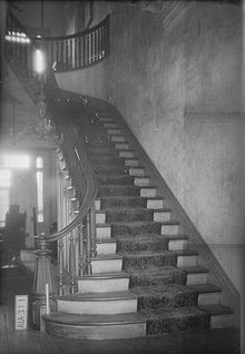 The main staircase at Rocky Hill Castle - built just prior to the Civil War. Demolished in 1961, after being neglected and becoming ruinous.