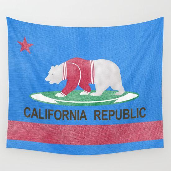 Polar Bear In California republic tapestry  by Mailboxdisco