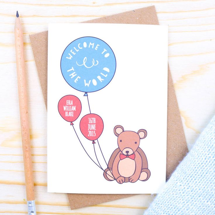 Personalised Bear Baby Boy Card