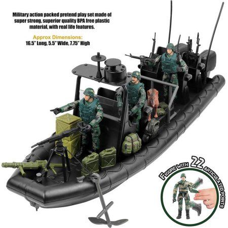 Click N' Play Military Special Operations Combat Dinghy Boat 26 Piece play set With Accessories
