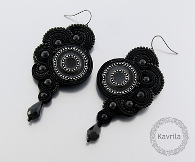 K Avril - Jewellery author. soutache Black Carnival Earrings. length 8cm