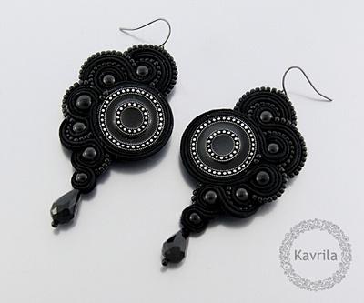 K Avril - Jewellery author. soutache Black Carnival Earrings. length 8cm