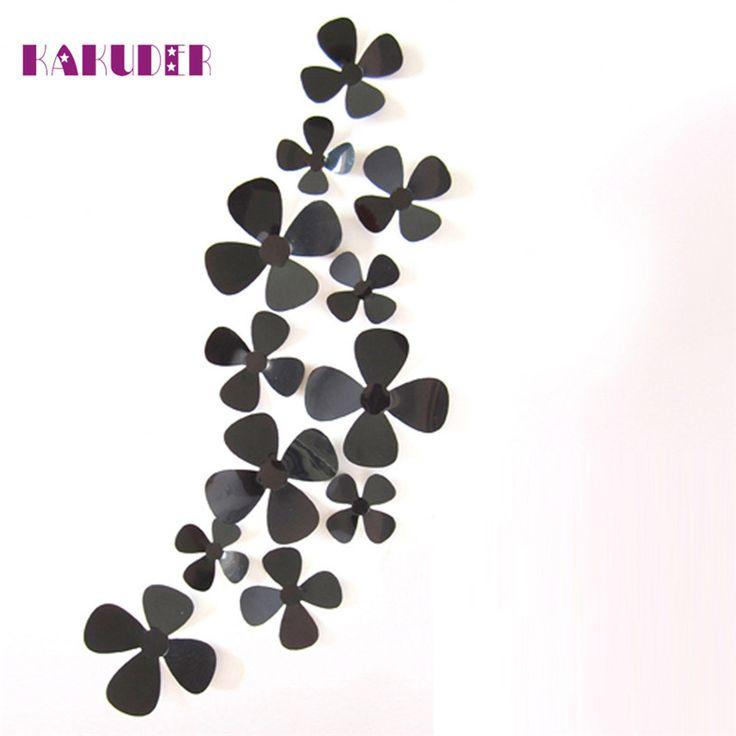 KAKUDER Fridge sticker 12Pcs 3D Acrylic Clover Wall Stickers for Home Decoration u70405